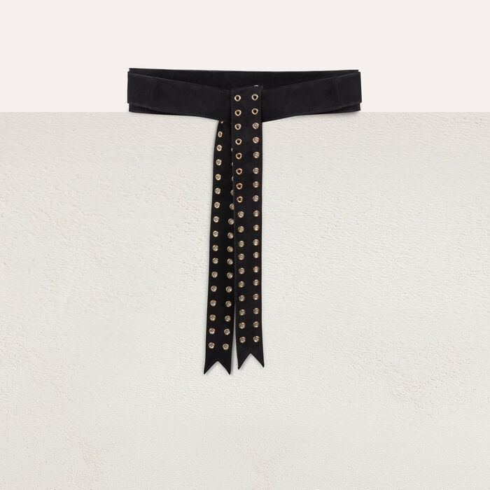 Suede belt with eyelets : Shoes & Accessories color Black 210