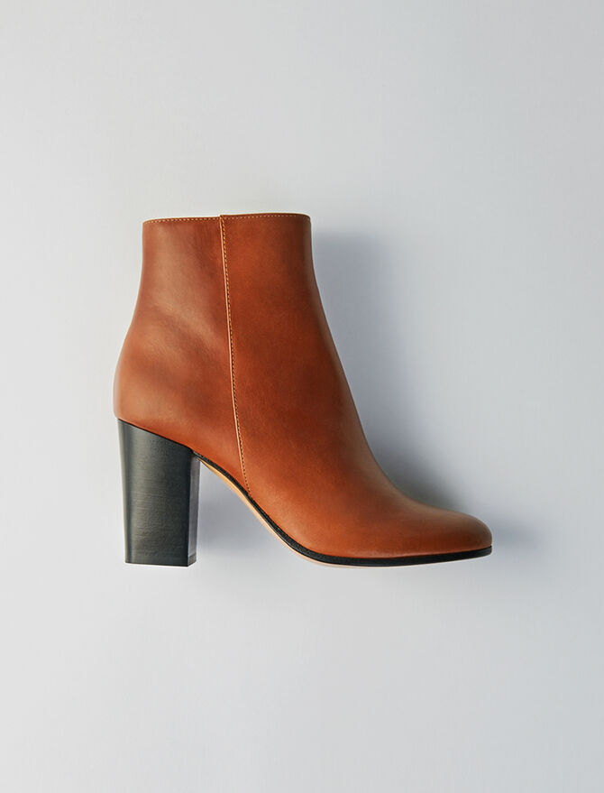 Heeled smooth leather booties - Shoes - MAJE