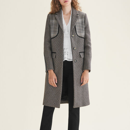 Checked coat - Jacquard - MAJE
