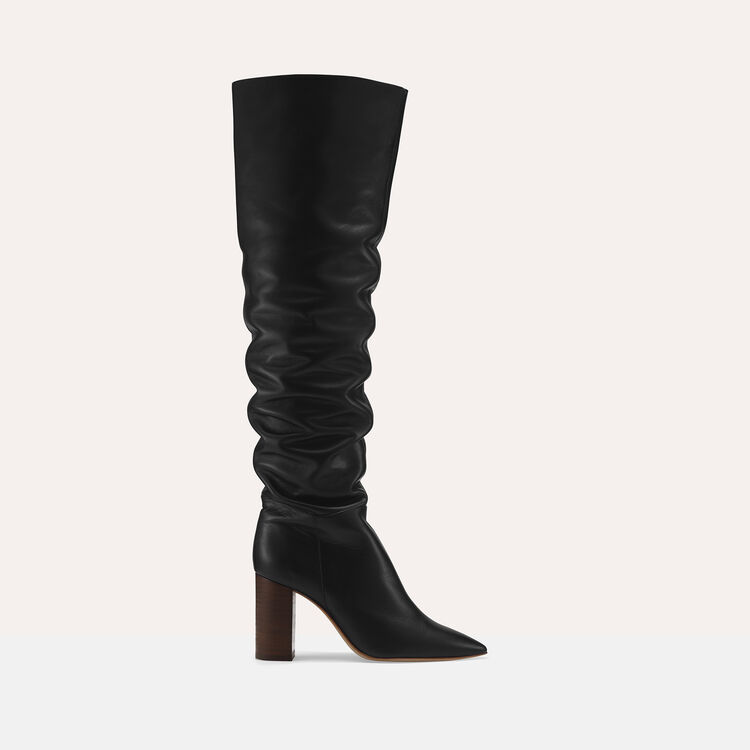 Leather thigh boots with heel : Shoes & Accessories color Black 210