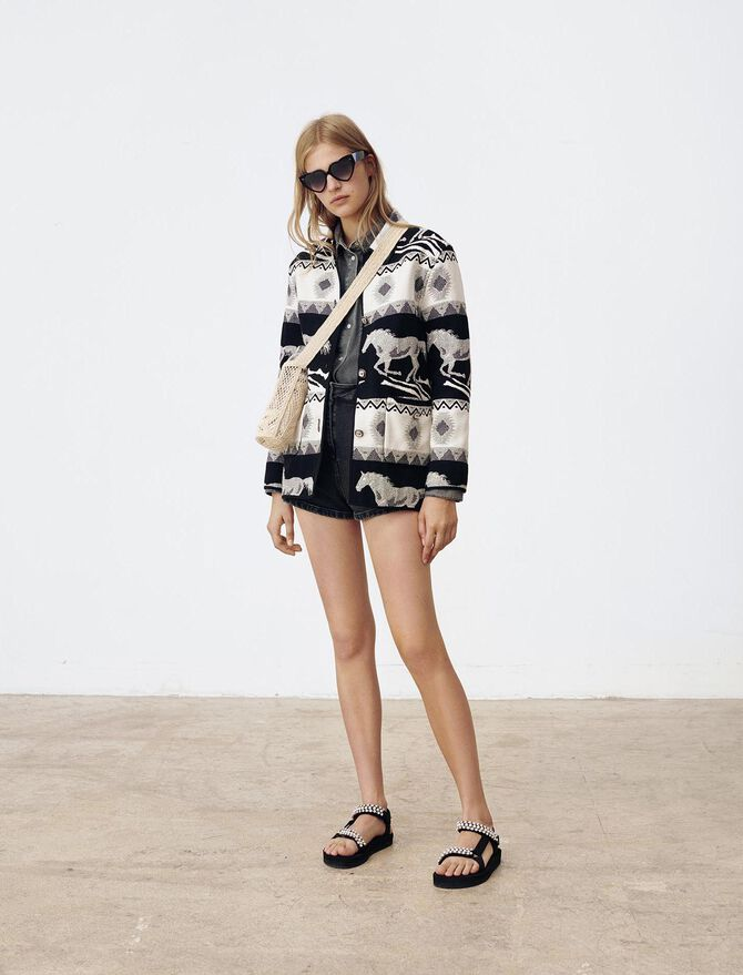 Reversible jacquard coat - Coats & Jackets - MAJE