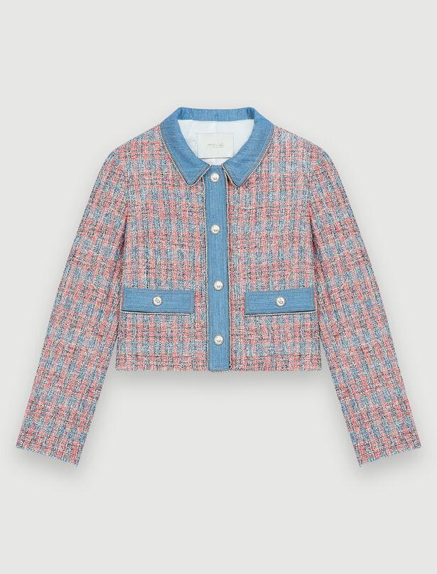 21SS 마쥬 데님 믹스 트위드 자켓 (여자아이들 우기 착용) MAJE Tweed jacket with denim contrasts, Red