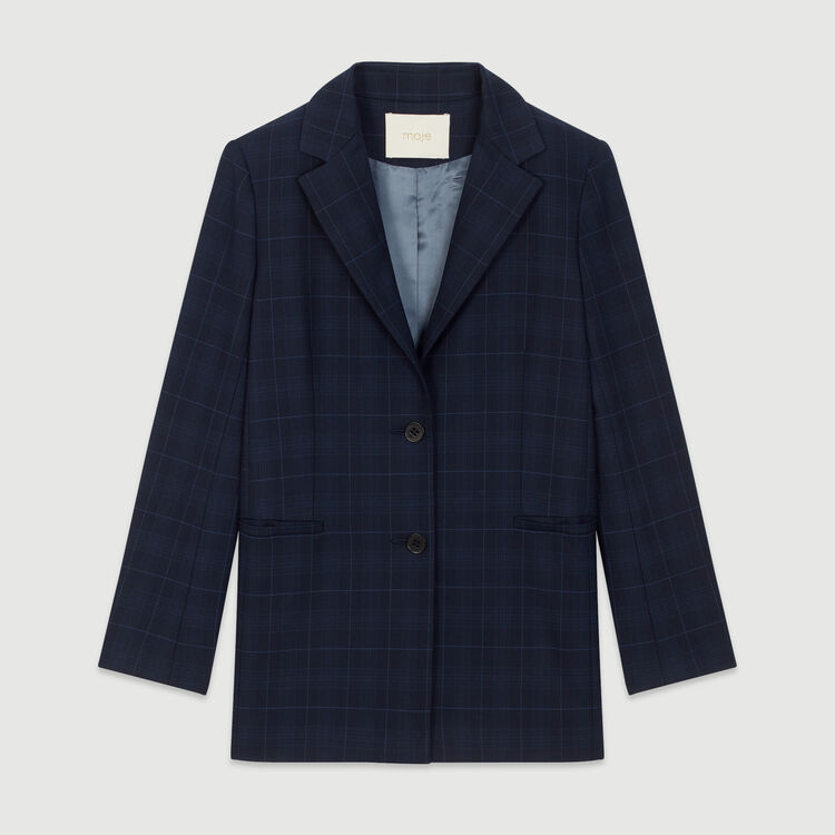 Jacket with check print : Coats & Jackets color Navy