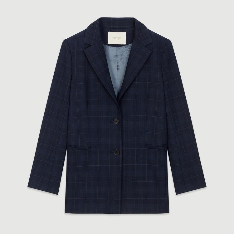 Jacket with check print : Coats & Jackets color Navy