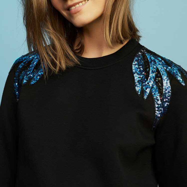 Embroidered sweatshirt : Sweaters color Black 210