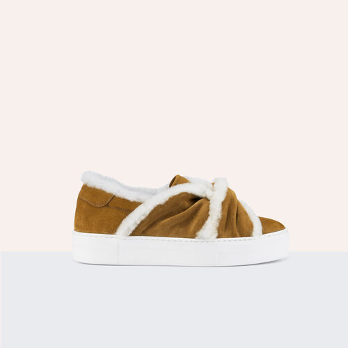 Suede trainers with shearling bow : Shoes color Camel
