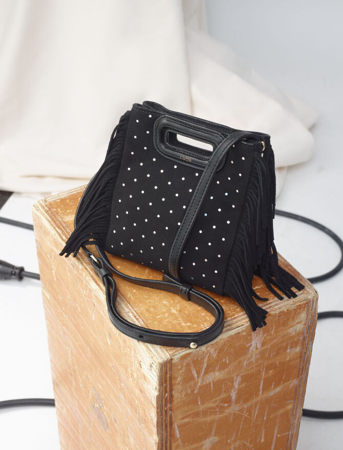 Suede Mini M bag with round studs -  - MAJE