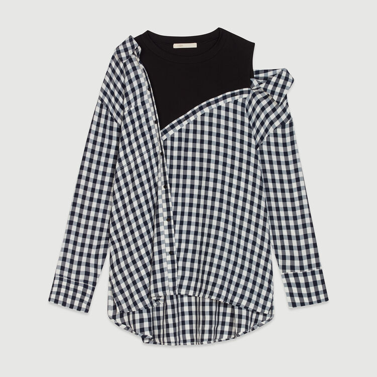 Layered shirt in  gingham : Tops & T-Shirts color CARREAUX