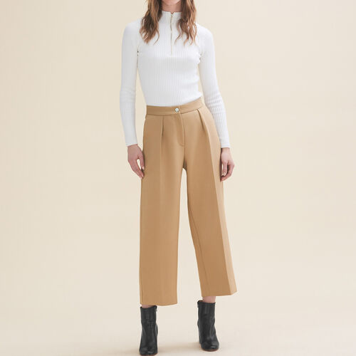 Wide tailored trousers : Pants & Jeans color Camel