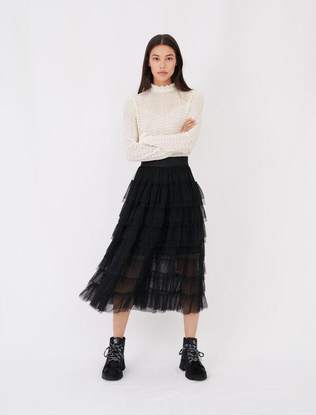 21SS 마쥬 튤 미디 스커트 - 블랙 MAJE 120josepha Tulle midi skirt