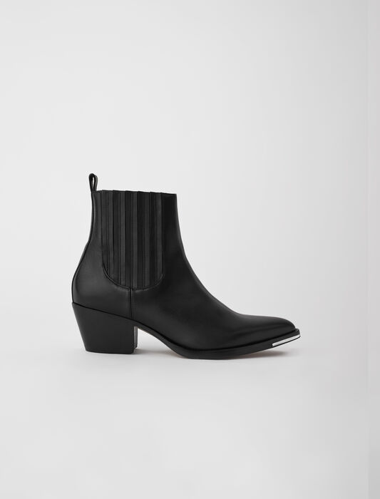 Western-style ankle boots in leather : Boots color Black