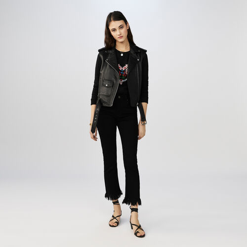 7/8 jeans with frayed hem : New Collection color Black 210