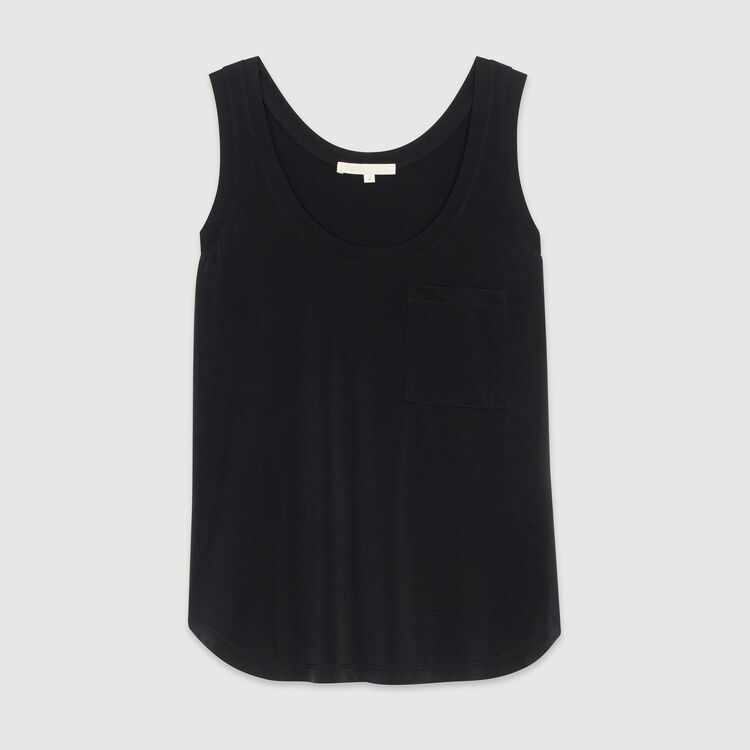 Round collar tank in cupro : Tops & T-Shirts color Black