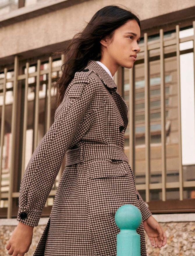 Belted dogtooth coat - Coats & Jackets - MAJE