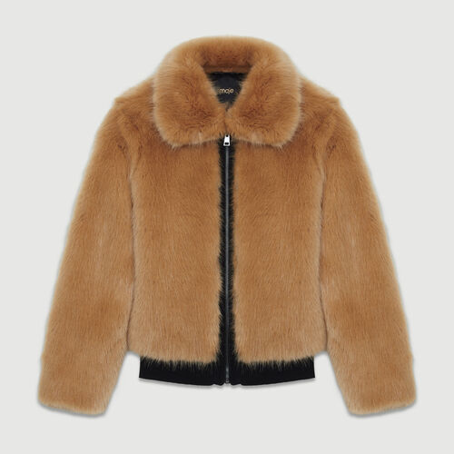 Cropped faux fur jacket : Coats & Jackets color Camel