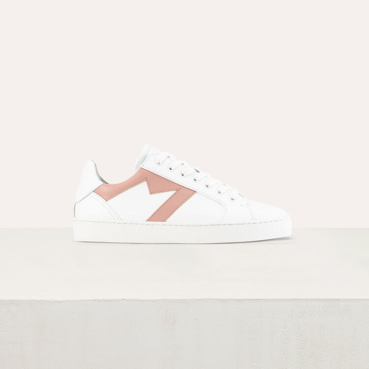 Leather sneakers with contrast M cutout : Shoes & Accessories color Gold