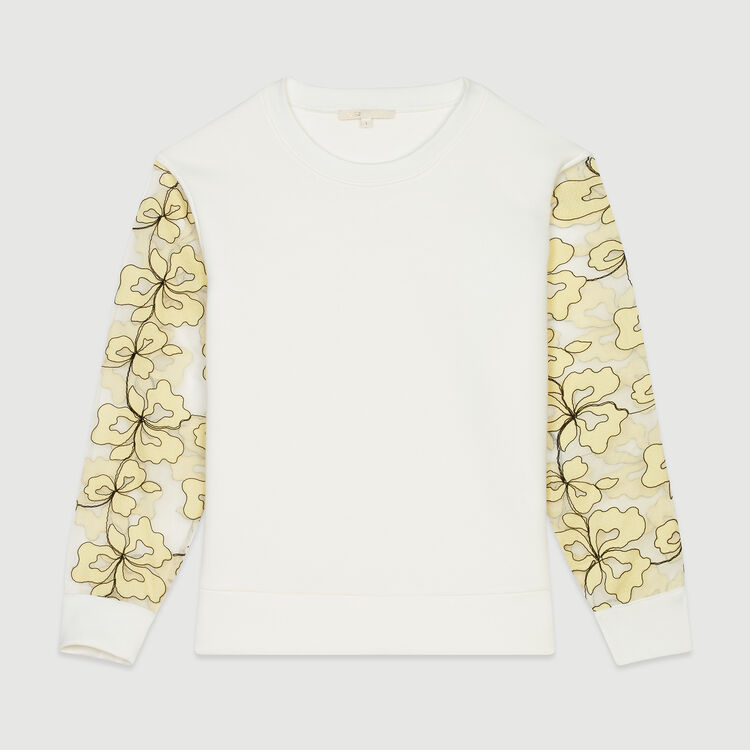 Sweatshirt with organza details : Sweaters color WHITE