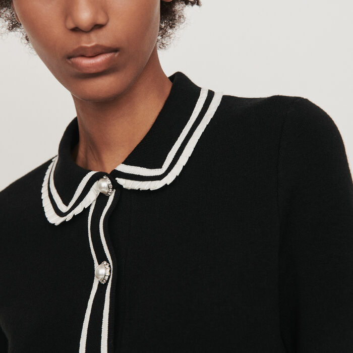 Contrast and jeweled polo-style sweater : Sweaters color Black