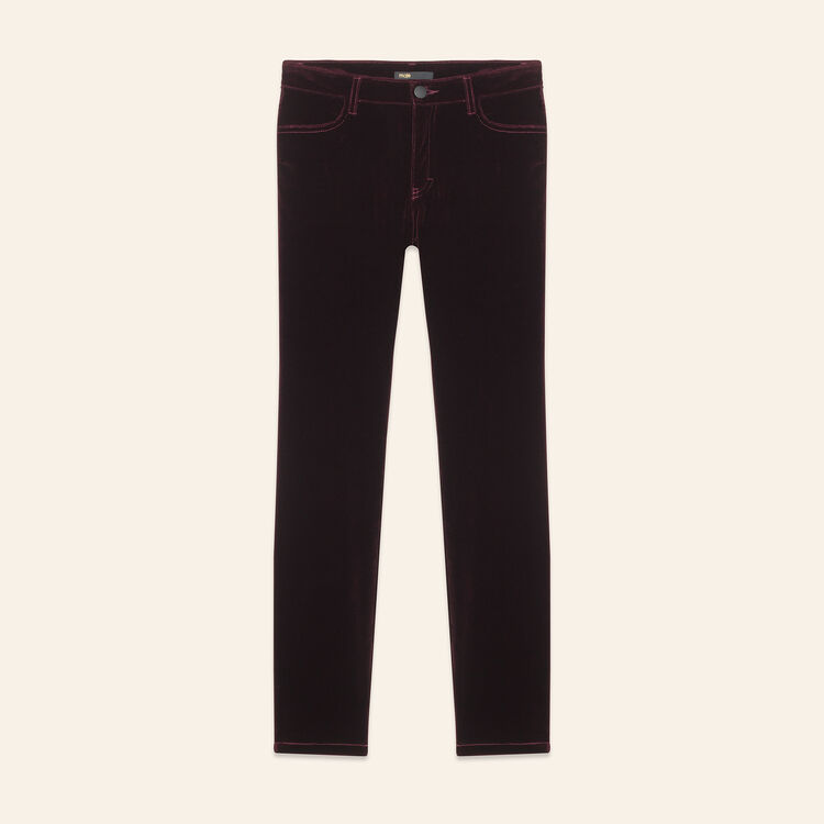 Velvet 5-pocket trouser : Pants & Jeans color BORDEAUX