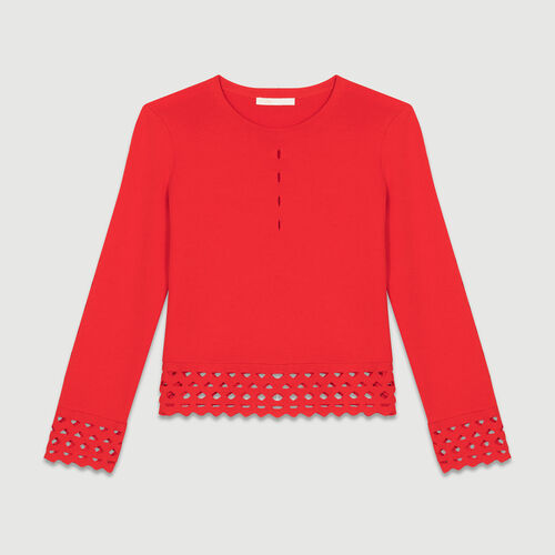 Sweater with open-knit detailing : Sweaters color ROUGE