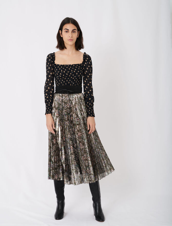 Sequin pleated skirt - Skirts & Shorts - MAJE
