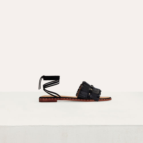 Flat sandals with ties in leather : Summer Bloom color Black 210