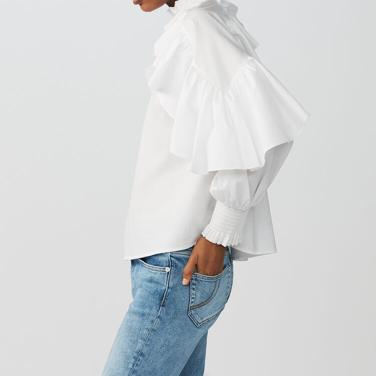 Ruffled cotton poplin blouse : Tops & T-Shirts color White
