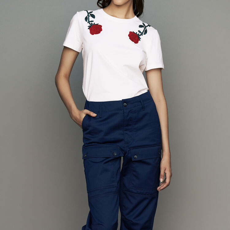 Cotton embroidered T-shirt : Tops & T-Shirts color White