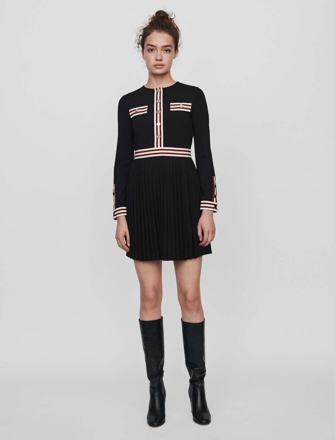 Pleated dress with contrasting stripes - Dresses - MAJE