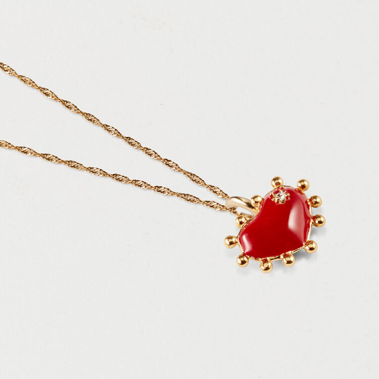 Necklace with red heart : Jewelry color GOLD