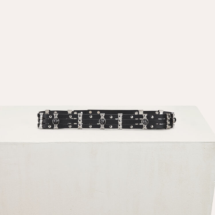 High-waisted leather belt with metal : Belts color Black