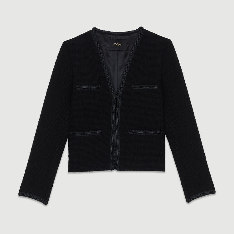 Cropped jacket in terry : Coats & Jackets color Black 210