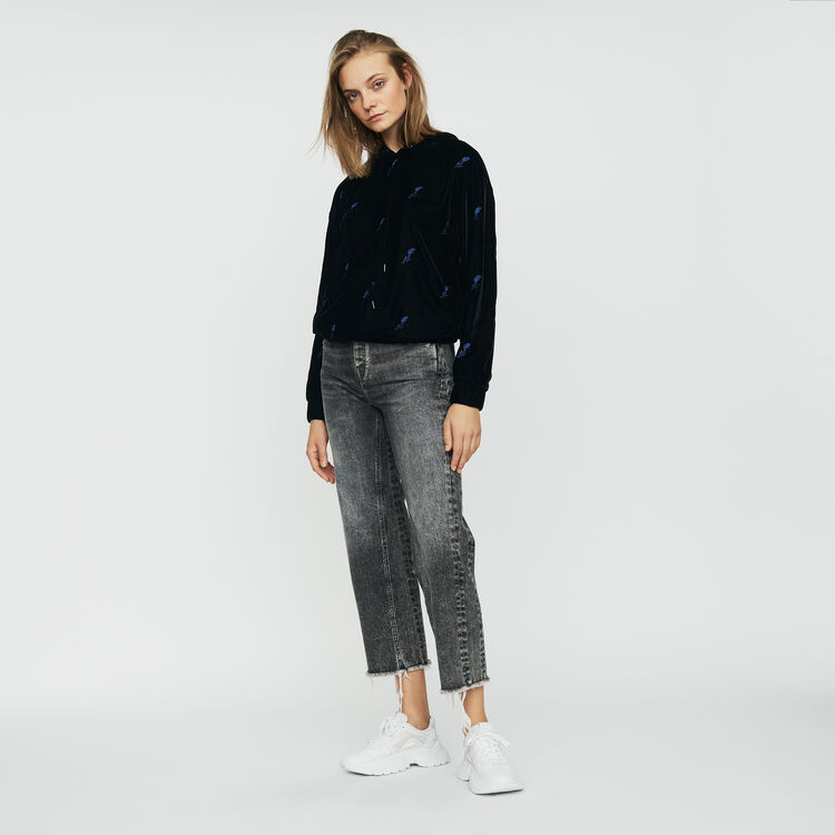Hooded sweatshirt with embroidered : Sweaters color Black 210