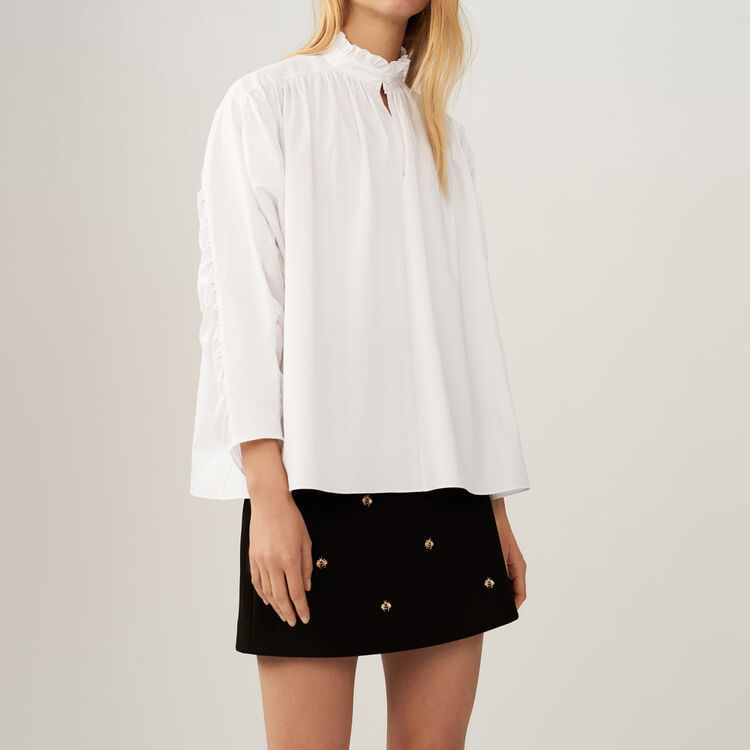 Oversize blouse with pleats : Tops & Shirts color White