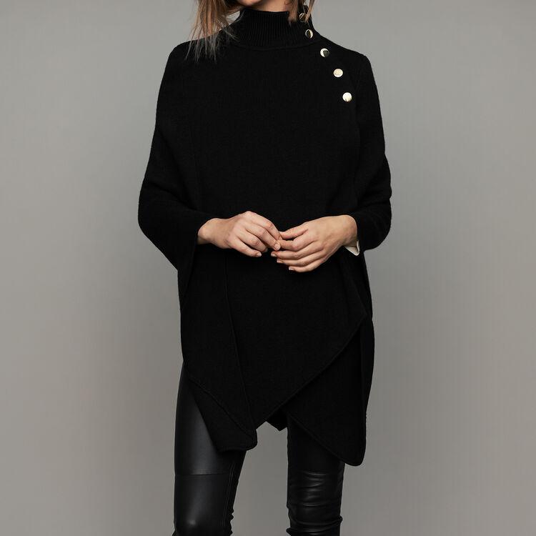 Funnel collar poncho in wool blend : Scarves color Black 210