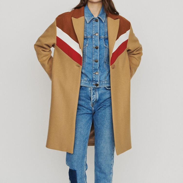 Oversize coat in virgin wool : Coats & Jackets color Camel