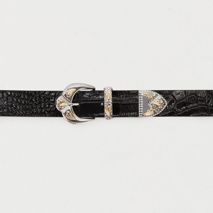 Double scalloped buckle leather belt : The Spring Essentials color Black 210