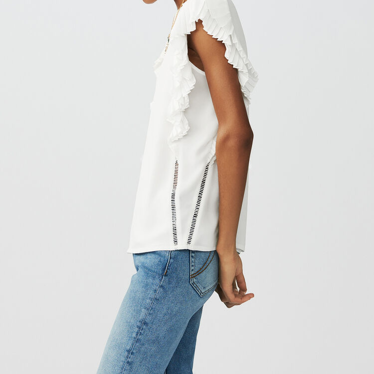 Top with pleated sleeves : Tops & Shirts color ECRU