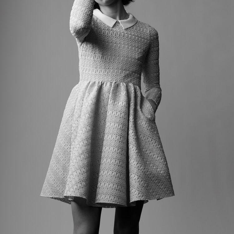 Rounded hem basket weave dress : Dresses color Blue Sky