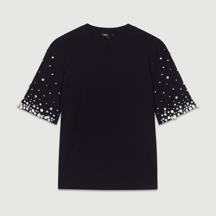 Cotton T-shirt with pearls : New Collection color Black 210