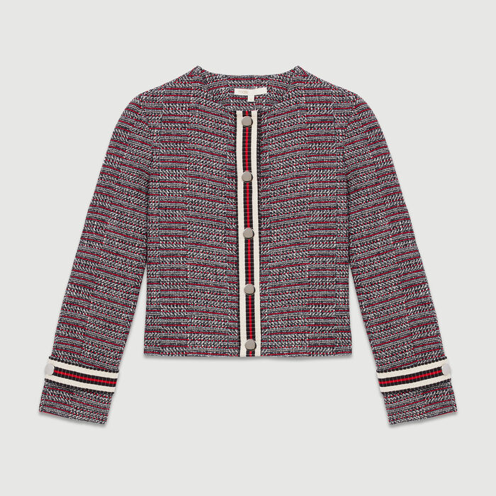 Cotton tweed jacket : Coats & Jackets color Jacquard