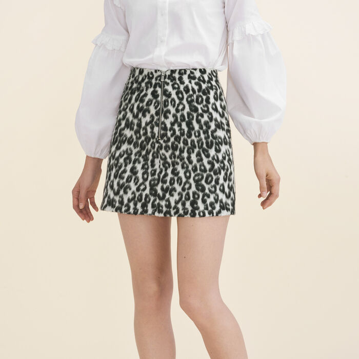 Leopard-print A-line skirt : null color