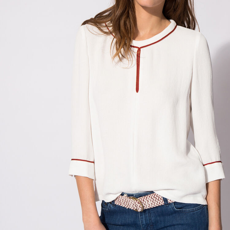 Floaty crêpe top : null color