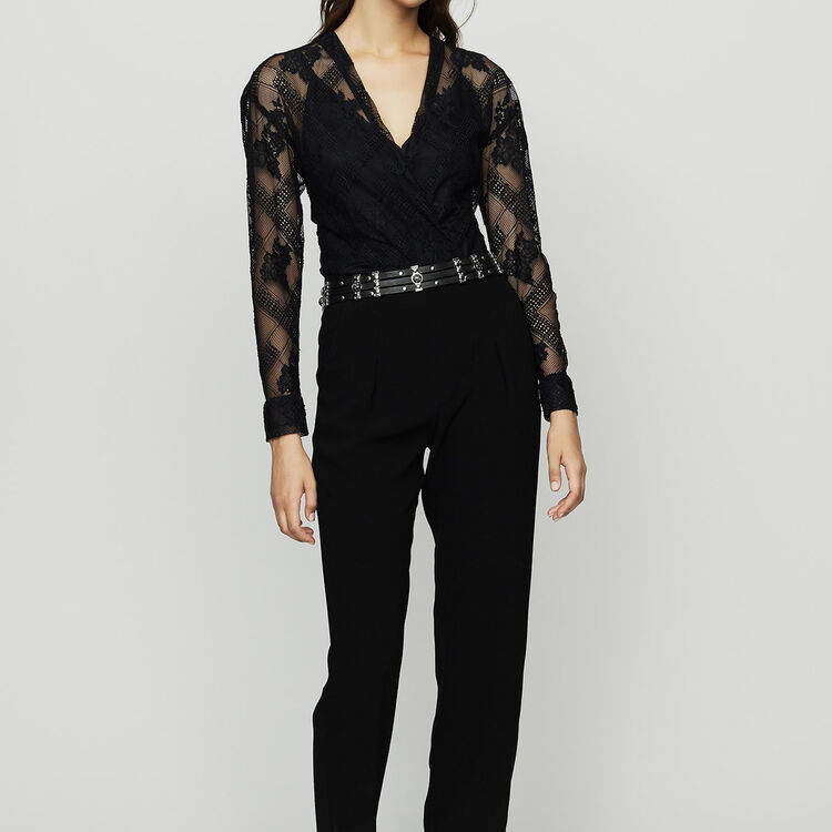 Jumpsuit in crepe and lace : Pants & Jeans color Black 210