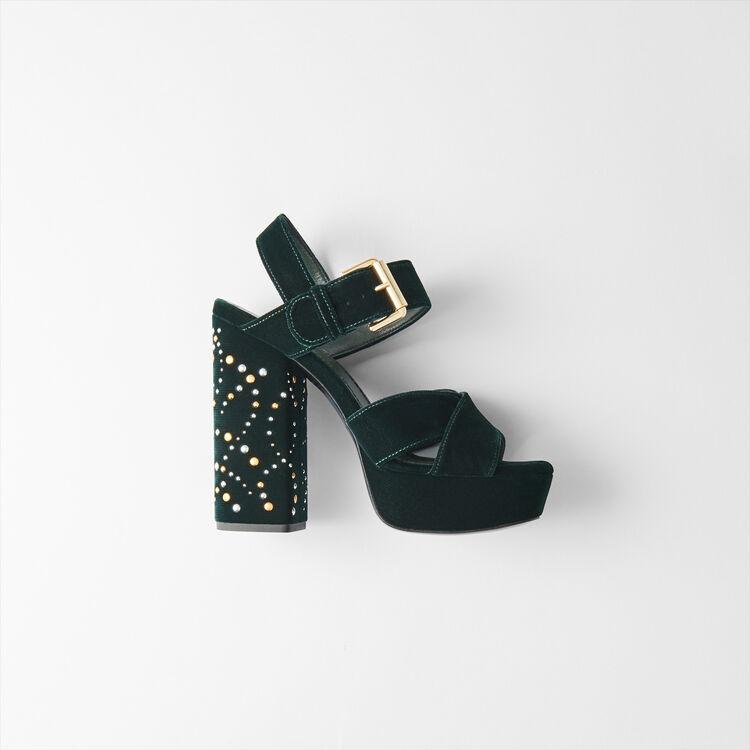 Studded velvet platform sandals : Shoes color GREEN