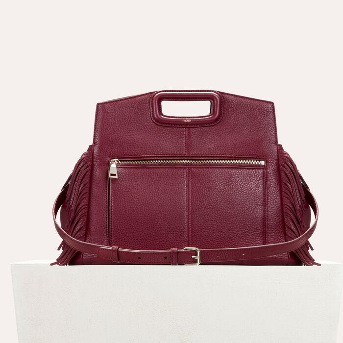 Leather shoulder bag : Shoes & Accessories color Burgundy