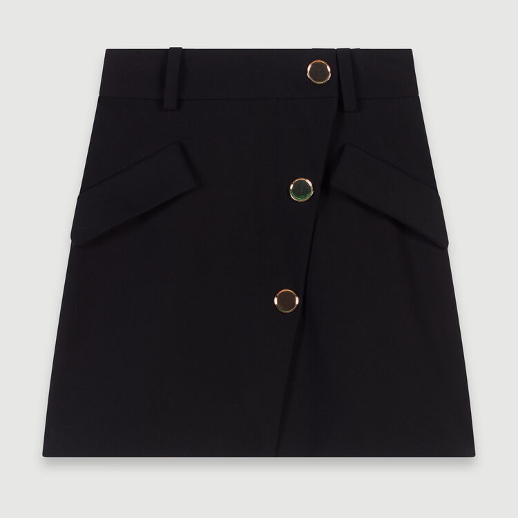 Crepe skirt with contrasting buttons : Fall Pre-Collection color Black