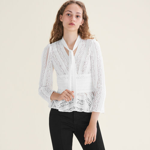 Embroidered top with ties : Tops & T-Shirts color White