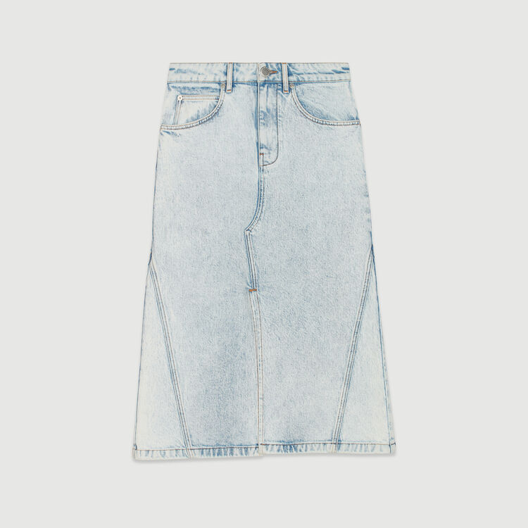 Long skirt in faded denim : Skirts & Shorts color Denim