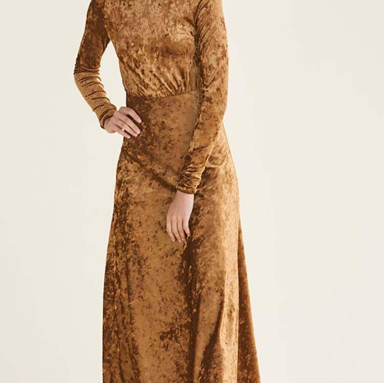 Long velvet dress : null color